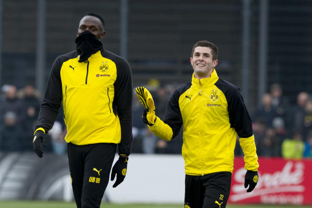 "<a class=""link rapid-noclick-resp"" href=""/olympics/rio-2016/a/1056797/"" data-ylk=""slk:Usain Bolt"">Usain Bolt</a> trained with USMNT star Christian Pulisic and others during his Borussia Dortmund trial. (Getty)"