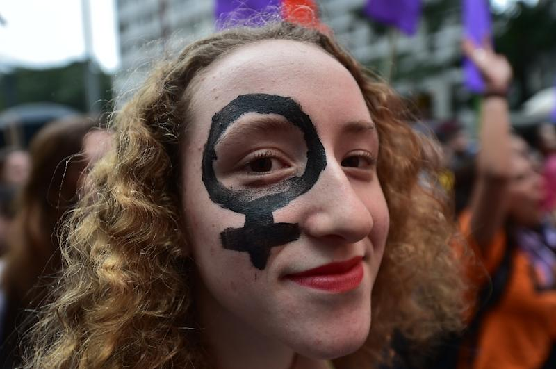Women take part in the 'Marcha das Vadias' (Slutwalk) march protesting against sex violence and discrimination against women in Sao Paulo, Brazil on May 24, 2014 (AFP Photo/Nelson Almeida)
