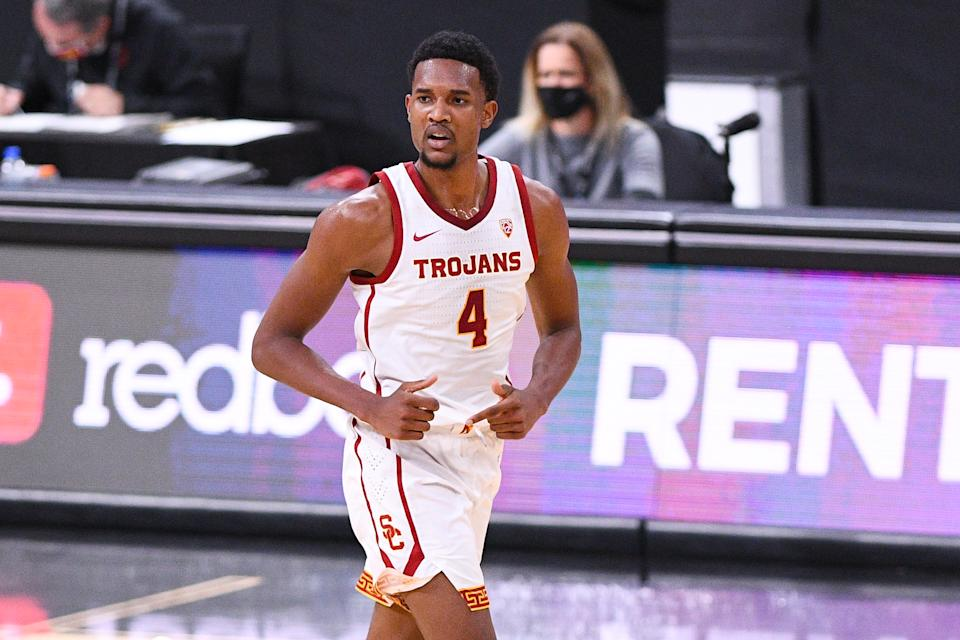 Evan Mobley is this draft's top center with the ability to extend to the wing. (Brian Rothmuller/Icon Sportswire via Getty Images)