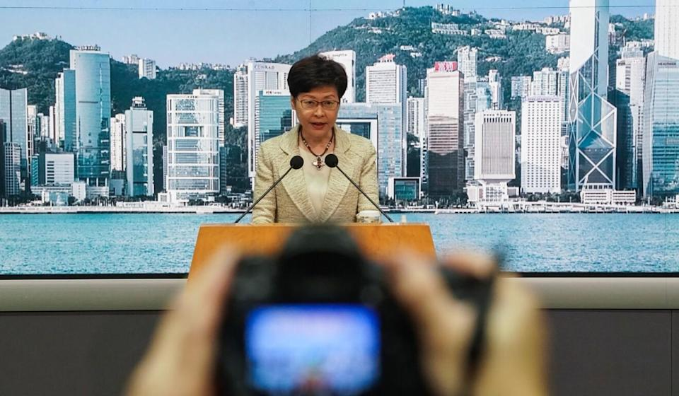 Chief Executive Carrie Lam takes questions ahead of her weekly Executive Council meeting on Tuesday. Photo: Felix Wong