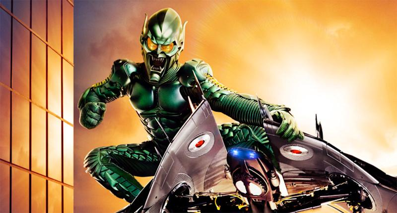 Willem Dafoe in full Green Goblin garb for Sam Raimi's 2002 <i>Spider-Man</i>. (Sony Pictures)