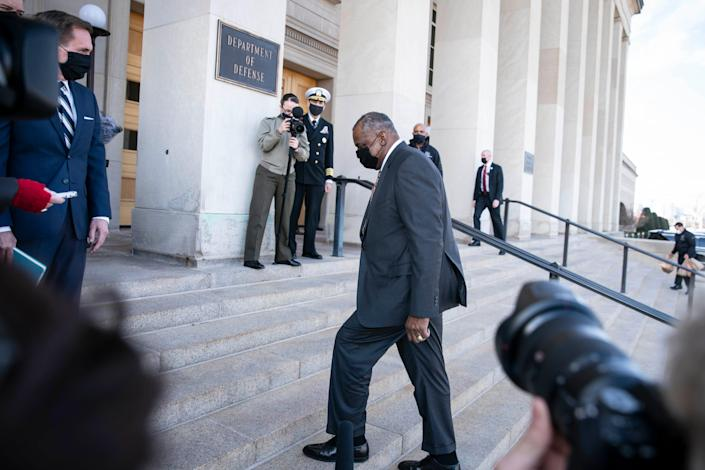 Incoming Secretary Of Defense Lloyd Austin III arrives to the Pentagon for the first day in his new role on Jan. 22, 2021 in Arlington, Virginia. The House and Senate approved Secretary Austin to lead the Pentagon on Thursday.