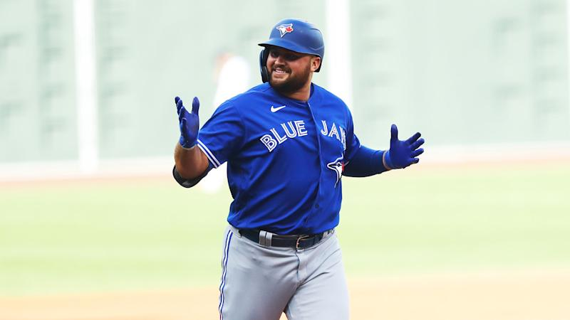 BOSTON, MASSACHUSETTS - SEPTEMBER 06: Rowdy Tellez #44 of the Toronto Blue Jays celebrates after hitting a home run during the sixth inning against the Boston Red Sox at Fenway Park on September 06, 2020 in Boston, Massachusetts. (Photo by Maddie Meyer/Getty Images)