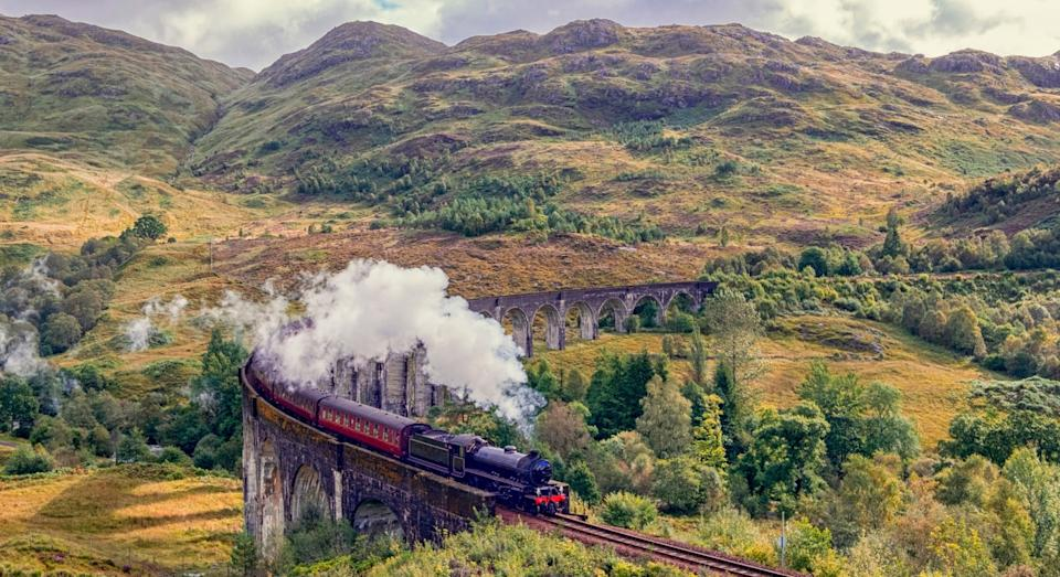 The Jacobite Steam Train crossing the Glenfinnan Viaduct in the  Scottish Highlands (Getty)