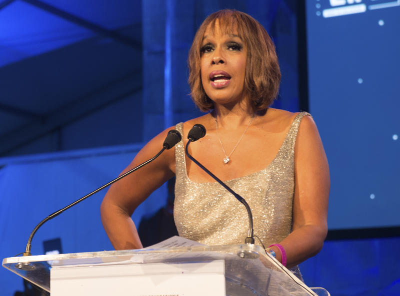"FILE - This July 16, 2016 file photo shows ""CBS This Morning"" host Gayle King speaking at the 2016 Art For Life Benefit in Water Mill, N.Y. In the wake of a social media backlash, King says she is embarrassed and angry with how the network promoted part of her interview with WNBA star Lisa Leslie that concerned the late Kobe Bryant. A video clip distributed on CBS News' social media accounts, taken from a wide-ranging ""CBS This Morning"" interview that aired Tuesday, Feb. 4, 2020, focused on Leslie addressing a sexual assault charge that had been brought against Bryant and dismissed. In the interview, King asked Leslie whether Bryant's legacy had been complicated by the assault case. Leslie said it hasn't, and called on the media to be more respectful of Bryant's memory. Bryant was killed in a helicopter crash on Jan. 26. (Photo by Scott Roth/Invision/AP, File)"