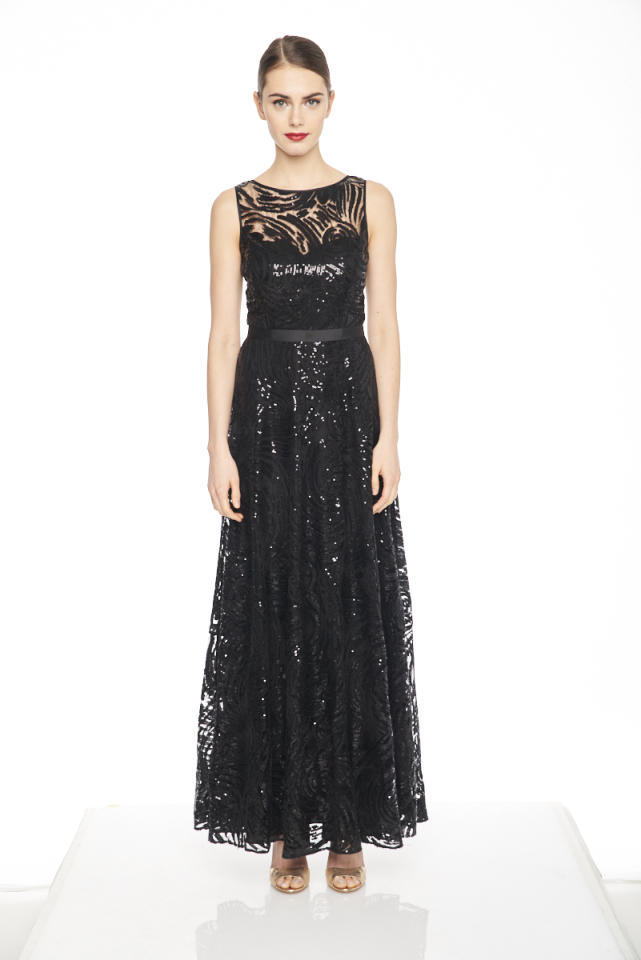 """<p><em><a rel=""""nofollow"""" href=""""https://www.karllagerfeldparis.com/product/beaded+lace+gown+with+illusion+yoke.do?sortby=ourPicks&from=fn&selectedOption=209657"""">Beaded Black Lace Gown</a>, KARL LAGERFELD PARIS, $398</em></p>"""