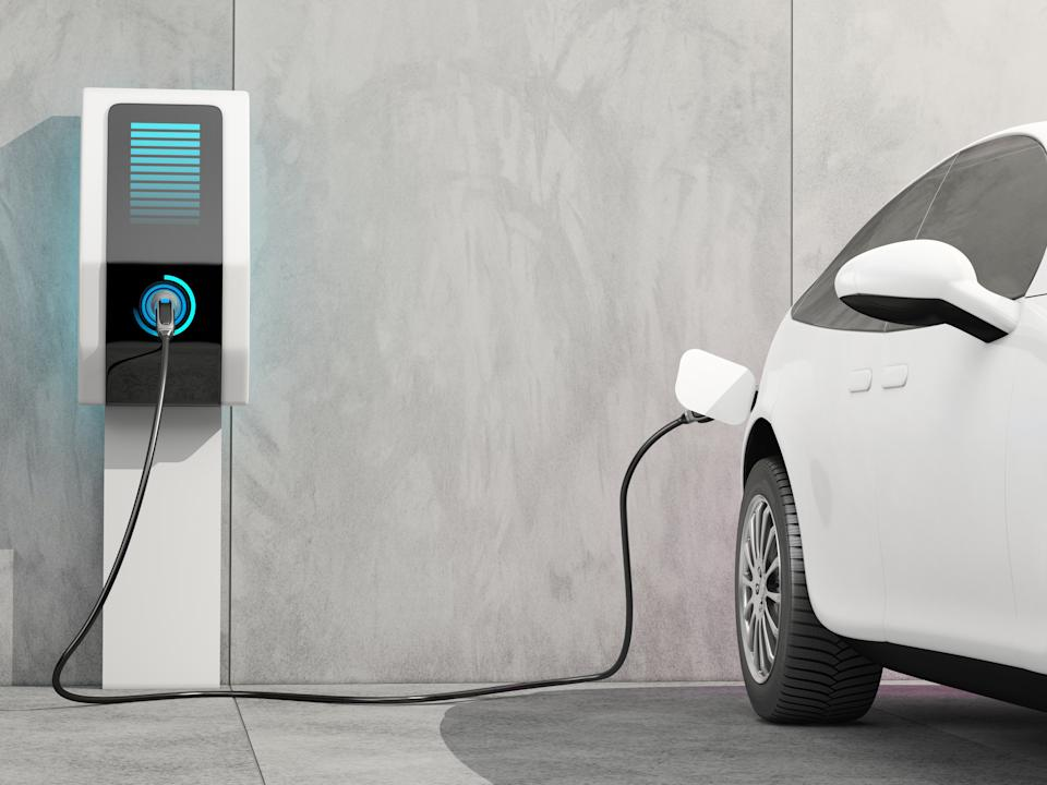 Electric car charging, illustration.