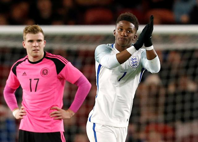 Soccer Football - UEFA Euro Under 21 Qualifier - England vs Scotland - Riverside Stadium, Middlesbrough, Britain - October 6, 2017 England U21's Demarai Gray applauds the crowd as he is substituted for Jonjoe Kenny Action Images via Reuters/Ed Sykes