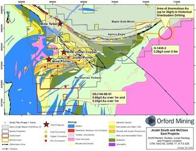 Figure 1: Location of the Joutel South and McClure East Properties with Phase 1 Exploration Work (CNW Group/Orford Mining Corporation)