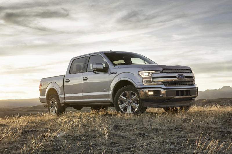This undated photo provided by Ford shows the 2019 F-150. The F-150 differs from the competition in its wholesale use of aluminum for the truck's body and bed, which results in a lighter truck. (Ford Motor Company via AP)