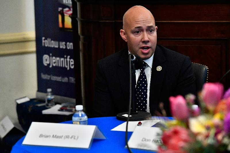 Republican Congressman Brian Mast, a former Army bomb technician who lost both legs when he stepped on an explosive device in Afghanistan. (AFP Photo/Larry French)