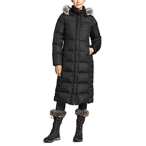 """<p><strong>Eddie Bauer</strong></p><p>amazon.com</p><p><strong>$209.30</strong></p><p><a href=""""https://www.amazon.com/dp/B00O33R98Q?tag=syn-yahoo-20&ascsubtag=%5Bartid%7C2141.g.29473259%5Bsrc%7Cyahoo-us"""" rel=""""nofollow noopener"""" target=""""_blank"""" data-ylk=""""slk:SHOP NOW"""" class=""""link rapid-noclick-resp"""">SHOP NOW</a></p><p>You'll face rain, snow, and heavy winds farlessly with this hooded winter coat. This fleece-lined coat<strong> is</strong><strong> made with a 650 fill power and 100 percent polyester</strong>, making it incredibly warm yet breathable. Plus, it has two front pockets and one interior one to hold valuables. </p><p>One Amazon reviewer says, """"I love this coat! I bought this for my trip to Alaska. I bought a size bigger so I could wear extra layers if needed. It never happened. This coat kept me warm with a medium base layer and thin fleece vest.""""</p>"""