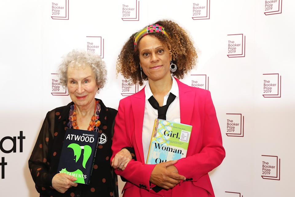 LONDON, ENGLAND - OCTOBER 14:   Joint winners Margaret Atwood and Bernardine Evaristo attend The 2019 Booker Prize Winner Announcement at The Guildhall on October 14, 2019 in London, England.  (Photo by David M. Benett/Dave Benett/Getty Images)