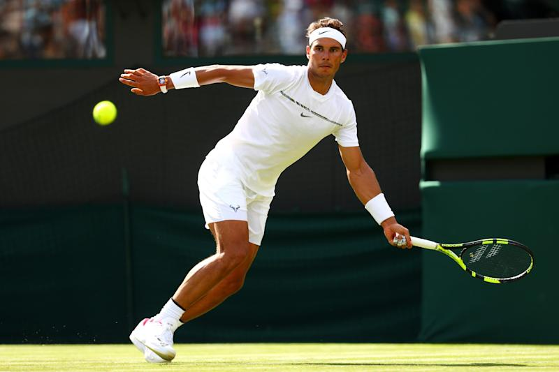 Rafael Nadal of Spain plays a forehand during the Gentlemen's Singles first round match on day one of the Wimbledon Lawn Tennis Championships at the All England Lawn Tennis and Croquet Club on July 3, 2017 in London, England.