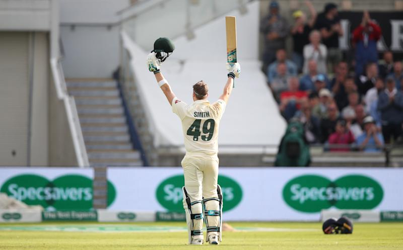 Australia's Steve Smith celebrates reaching his century during day one of the Ashes Test match at Edgbaston, Birmingham. (Photo by Nick Potts/PA Images via Getty Images)