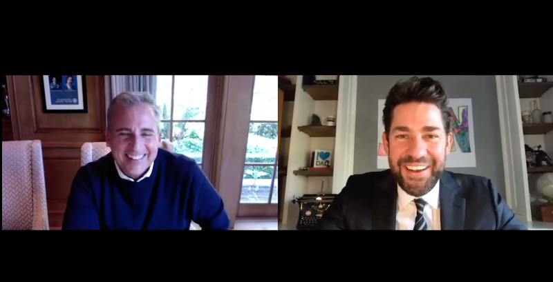 'The Office' stars John Krasinski, Steve Carell reunite via video chat