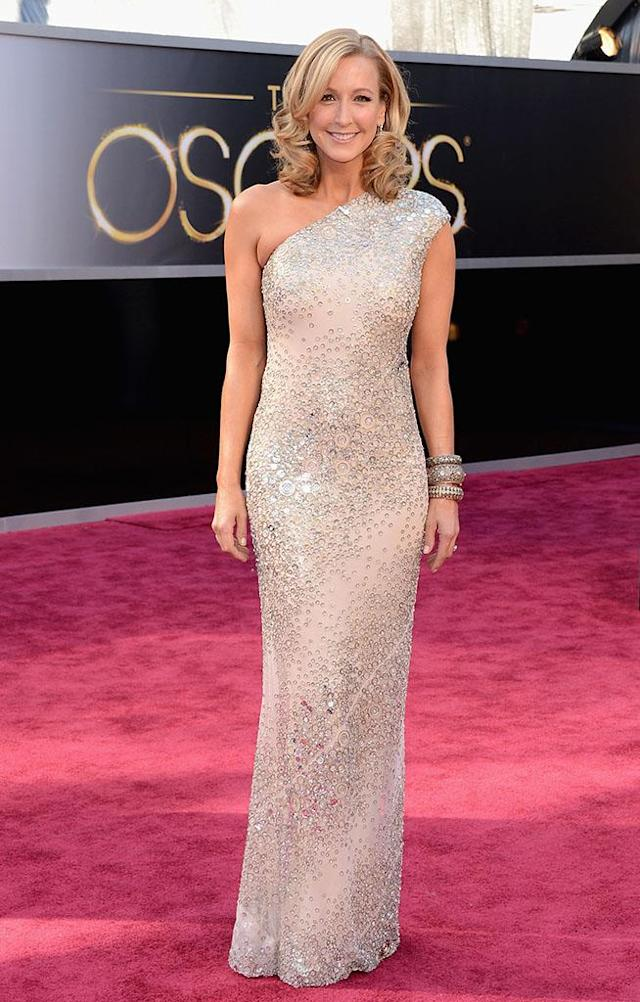 Lara Spencer arrives at the Oscars in Hollywood, California, on February 24, 2013.