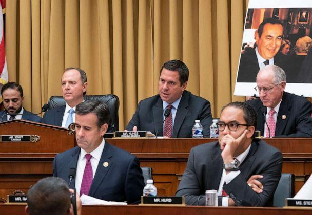 PHOTO: From top left, House Intelligence Committee Chairman Adam Schiff, Rep. Devin Nunes, and Rep. Mike Conaway, from bottom left, Rep. John Ratcliffe, and Rep. Will Hurd, are shown as Robert Mueller testifies in Washington, D.C., July 24, 2019. (J. Scott Applewhite/AP)