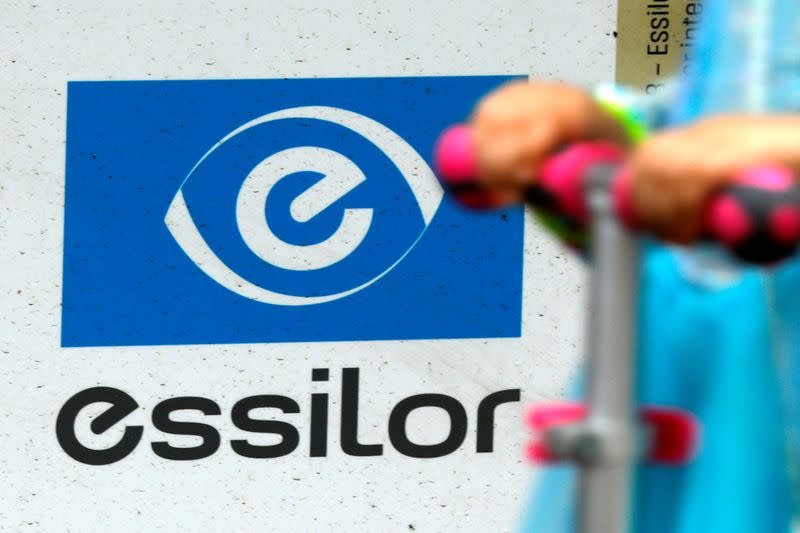 FILE PHOTO: Lens producer Essilor's logo is seen at the company's headquarters in Charenton-le-Pont