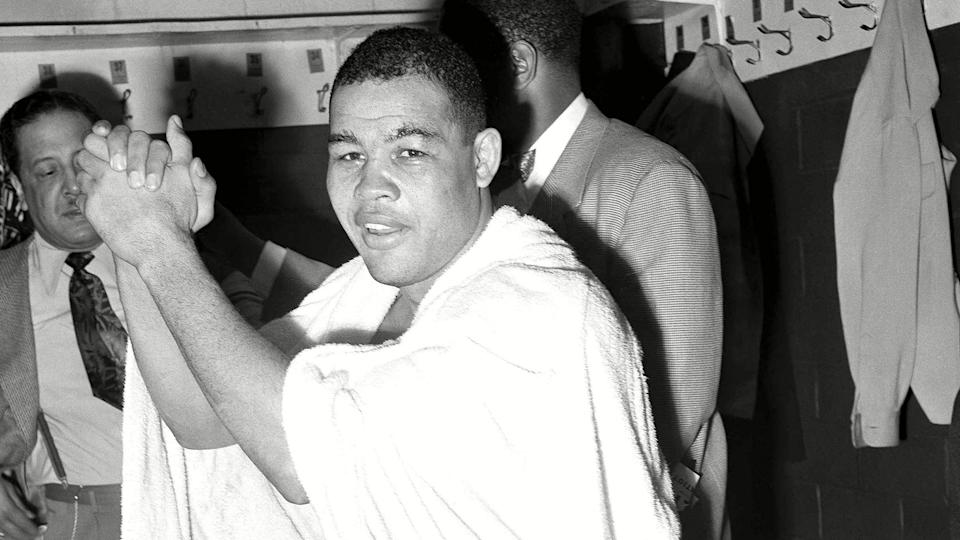 Mandatory Credit: Photo by Ae/AP/Shutterstock (6634591a)Joe Louis is pictured in his dressing room following his bout with Freddie Beshore in DetroitJoe Louis 1951, Detroit, USA.