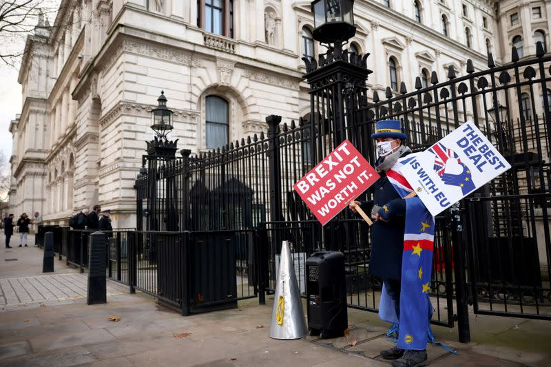 Anti-Brexit protester Steve Bray holds signs outside entrance to Downing Street in London