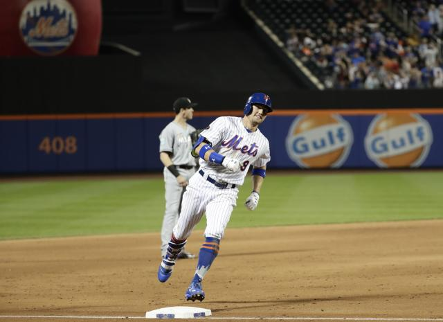New York Mets' Brandon Nimmo runs the bases after hitting a home run during the fifth inning of a baseball game against the Miami Marlins Wednesday, May 23, 2018, in New York. (AP Photo/Frank Franklin II)