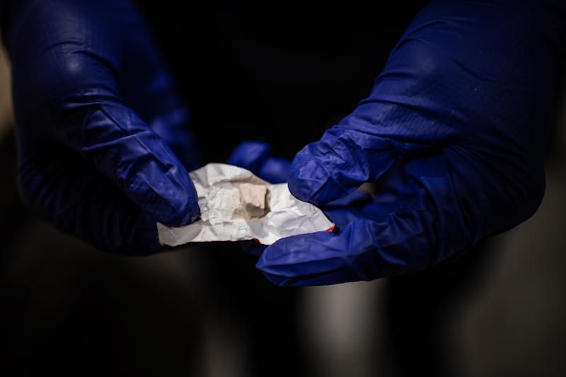 MANCHESTER, NH - FEBRUARY 10: A police offers shows heroine/fentanyl that was part of a kit that a woman was preparing to shoot inside a Walmart's bathroom on Sunday, February 10, 2019, in Manchester, NH. (Photo by Salwan Georges/The Washington Post via Getty Images)