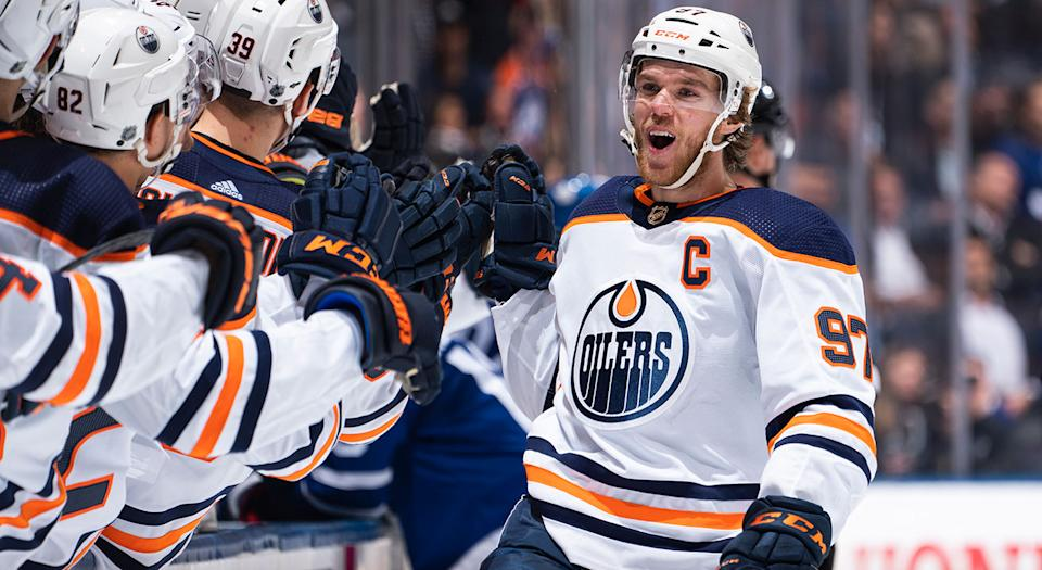 Connor McDavid scored against his hometown team for the first time in his career, and it was insane. (Photo by Mark Blinch/NHLI via Getty Images)