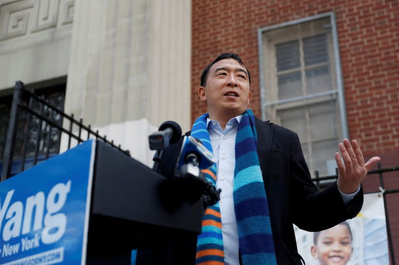 FILE PHOTO: Andrew Yang, Democratic candidate for mayor of New York City, speaks after being endorsed by U.S. Congresswoman Grace Meng (D-NY) in the Queens borough of New York