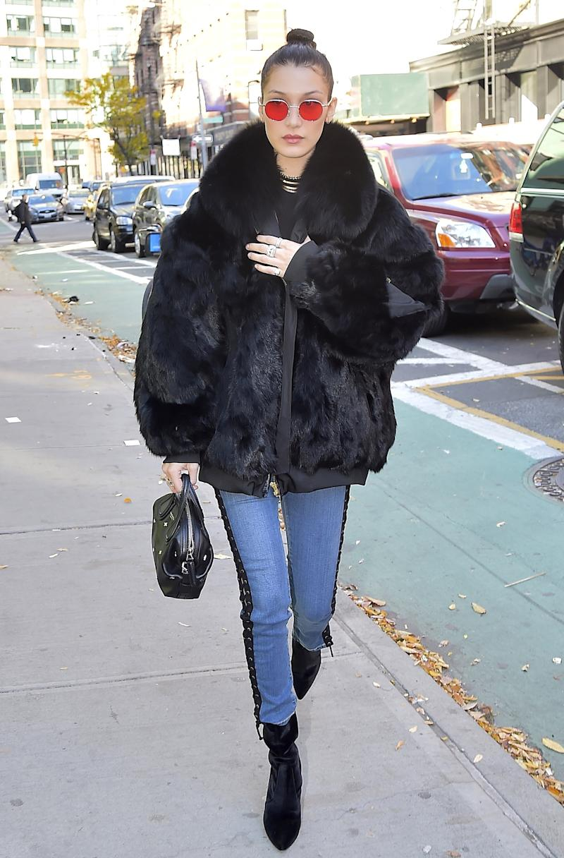 Bella Hadid is seen in Soho on November 14, 2016 in New York City.