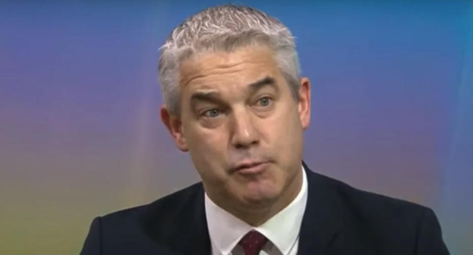 A close up screen shot of UK Cabinet Office minister Stephen Barclay during his Sky News interview. Source: Sky News