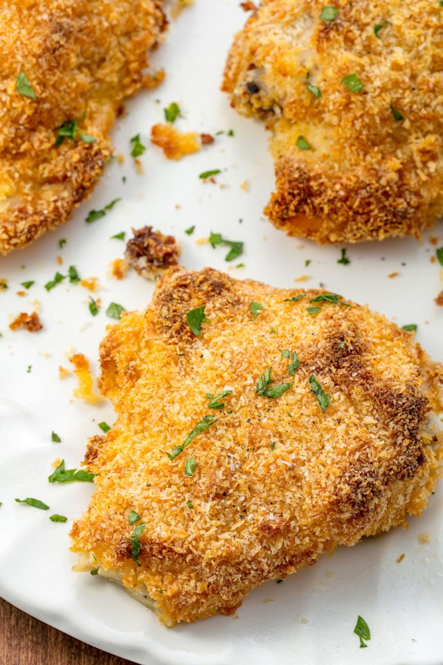 """<p>Yes, guilt-free fried chicken is possible.</p><p>Get the recipe from <a rel=""""nofollow"""" href=""""http://www.delish.com/cooking/recipe-ideas/recipes/a54957/oven-baked-fried-chicken-recipe/"""">Delish</a>.</p><p><em><strong>BUY OUR FAVORITE MIXING BOWLS: Set of Pyrex Bowls, $10; <a rel=""""nofollow"""" href=""""https://www.amazon.com/Pyrex-Prepware-3-Piece-Glass-Mixing/dp/B00LGLHUA0/?tag=syndication-20"""">amazon.com</a>.</strong></em></p>"""