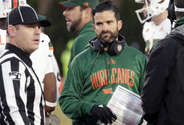 Miami head coach Manny Diaz's first season ended with a brutal 14-0 loss in the Independence Bowl. (AP Photo/Chris Seward)