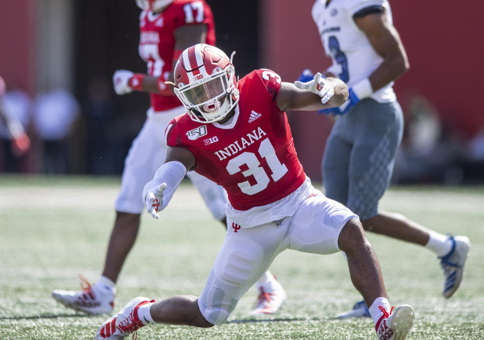 In this photo taken on Saturday, Sept. 7, 2019, Indiana defensive back Bryant Fitzgerald (31) reacts after sacking Eastern Illinois quarterback Johnathan Brantley (11) during an NCAA college football game in Bloomington, Ind. The Hoosiers could be headed to a second straight bowl game despite a brutal schedule that begins with Penn State visiting Bloomington, Indiana, on Oct. 24.(AP Photo/Doug McSchooler)