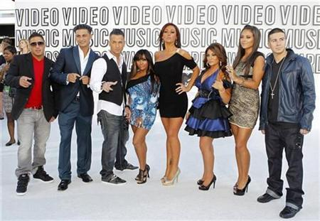"Cast of ""Jersey Shore"" pose upon their arrival at the 2010 MTV Video Music Awards in Los Angeles"