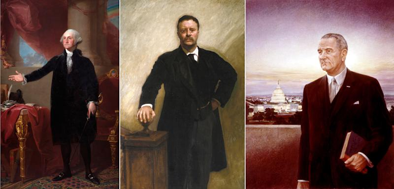 L-R: George Washington (The Lansdowne Portrait) by Gilbert Stuart; President Theodore Roosevelt by John Singer Sargent; Portrait of Lyndon B. Johnson by Peter Hurd