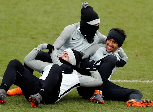 Soccer Football - Champions League - Paris St Germain Training - Ooredoo Training Centre, Saint-Germain-en-Laye, France - February 13, 2018 Paris St Germain's Marco Verratti, Neymar and Marquinhos during training REUTERS/Gonzalo Fuentes