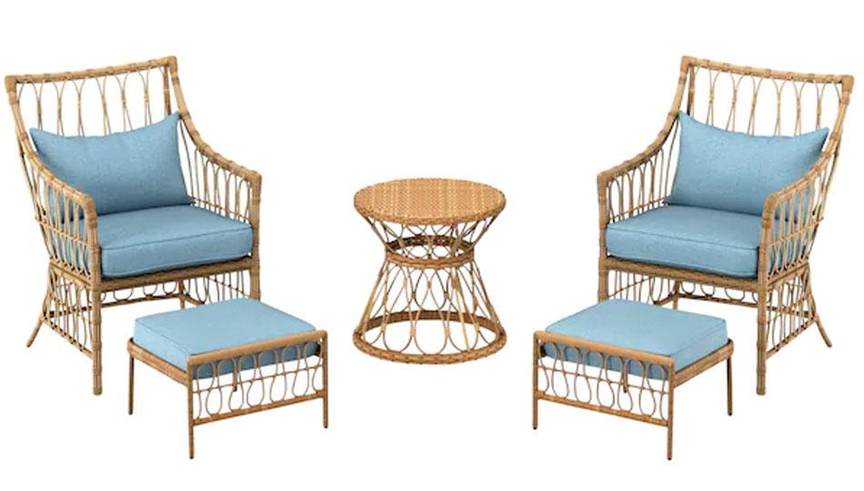 This outdoor seating set looks sweet but is built to be strong. (Photo: Lowe's)