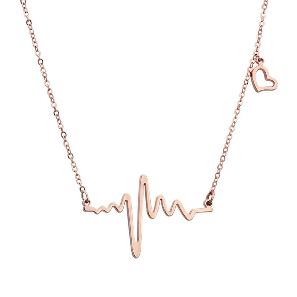 <p>The design of this <span>Elbluvf Heart Beat Love Cardiogram Necklace</span> ($11) is genius.</p>