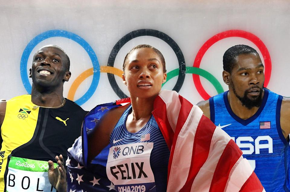 Usain Bolt, Allyson Felix, and Kevin Durant in front of the Olympic rings.