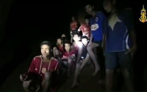 <span>The missing children inside the Tham Luang cave </span> <span>Credit: AFP </span>