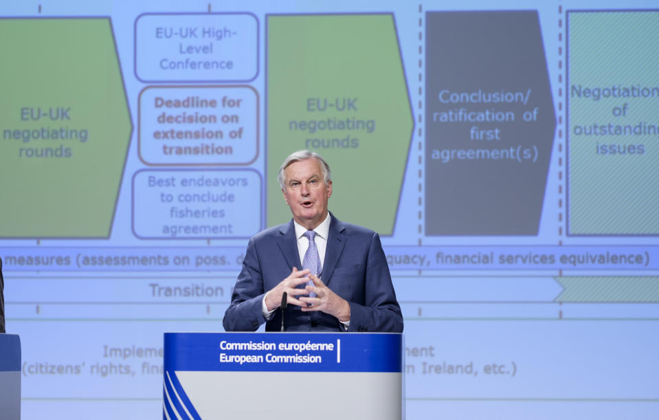 BRUSSELS, BELGIUM - FEBRUARY 3, 2020: European Commission's Head of Task Force for Relations with the United Kingdom (UK Task Force/UKTF) Michel Barnier gestures during a news conference on Jebruary 3, 2020 in Brussels, Belgium. The European Commission has today issued a recommendation to the Council to open negotiations on a new partnership with the United Kingdom. This recommendation is based on the existing European Council guidelines and conclusions, as well as on the Political Declaration agreed between the EU and the United Kingdom in October 2019. It includes a comprehensive proposal for negotiating directives, defining the scope and terms of the future partnership that the European Union envisages with the United Kingdom. These directives cover all areas of interest for the negotiations, including trade and economic cooperation, law enforcement and judicial cooperation in criminal matters, foreign policy, security and defence, participation in Union programmes and other thematic areas of cooperation. A dedicated chapter on governance provides an outline for an overall governance framework covering all areas of economic and security cooperation. (Photo by Thierry Monasse/Getty Images)