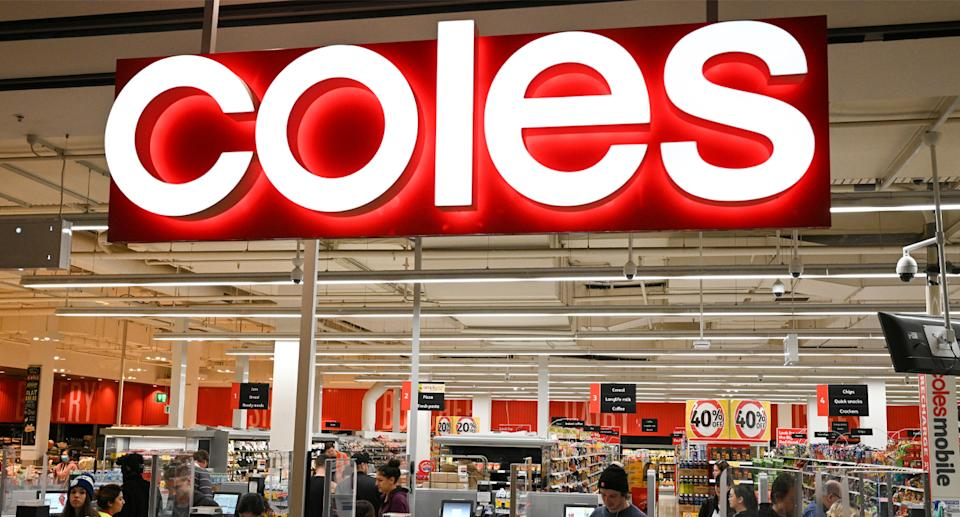 Hundreds of Coles stores now feature an Aldi-like packing bench. Source: AAP