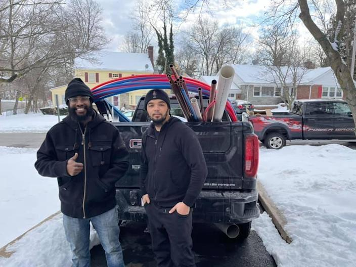 Andrew Mitchell and his brother-in-law Isaiah Pinnock filled a truck with plumbing supplies and drove with Mitchell's wife and son to Texas. / Credit: Mitchell's Plumbing & Heating LLC