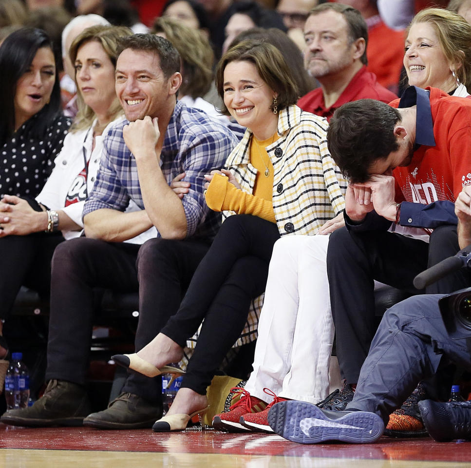 Emilia Clarke from Game of Thrones watches courtside during Game Six of the Western Conference Semifinals of the 2019 NBA Playoffs at Toyota Center on May 10, 2019 in Houston, Texas. (Photo by Bob Levey/Getty Images)