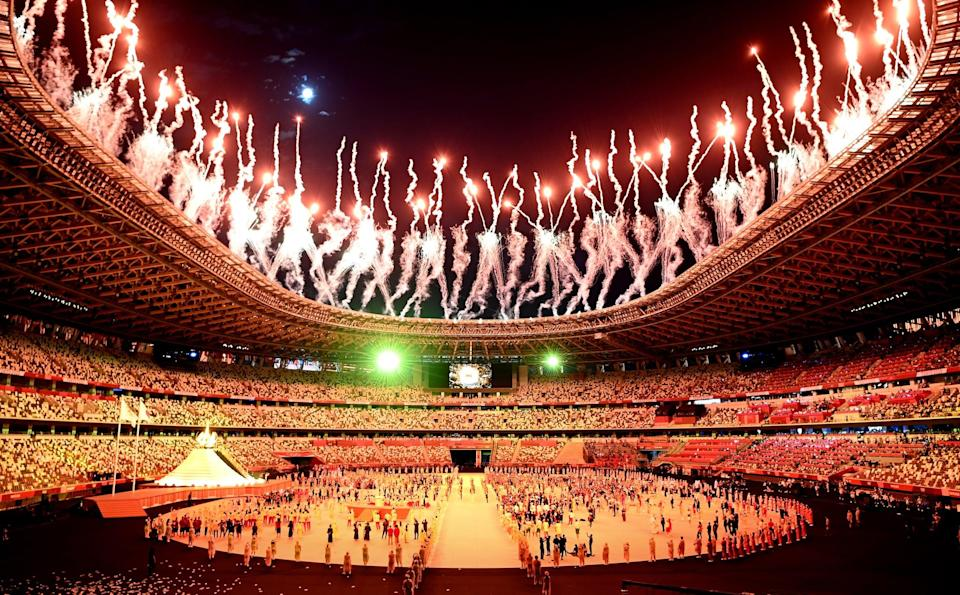 <p>The fireworks launching from the ceiling of the stadium at multiple times during the ceremony were really impressive!</p>