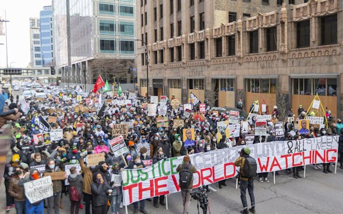 The city of Minneapolis has been heaving with protesters during the trial - Christopher Mark Juhn/Anadolu Agency via Getty Images