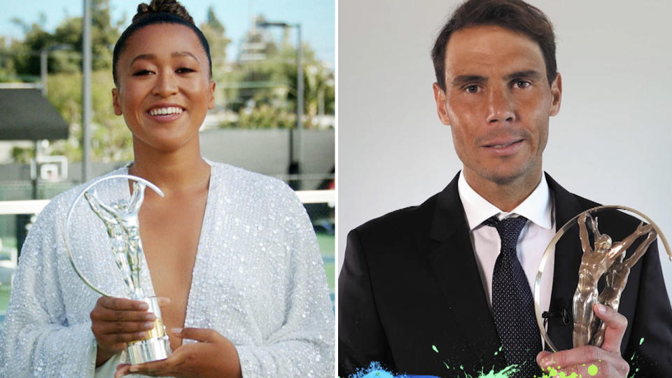 Naomi Osaka and Rafael Nadal, pictured here with their awards.