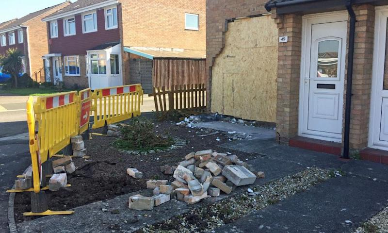 Neighbours were evacuated because of concerns that a gas pipe may have been damaged.