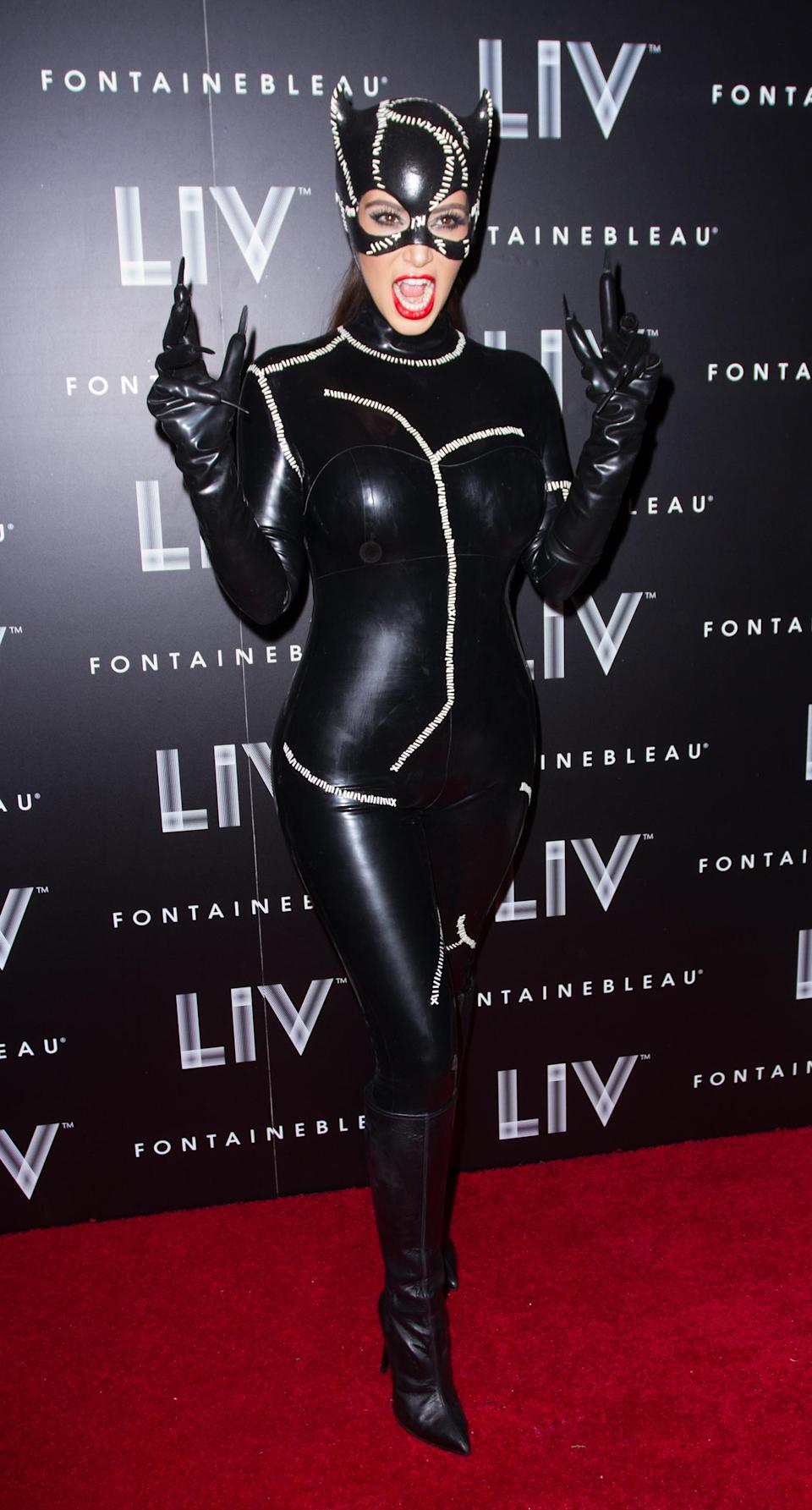 <p>Kim Kardashian attended her Halloween bash back in 2012 dressed as Catwoman. Boyfriend Kanye was also in attendance rather reluctantly dressed as Batman. <em>[Photo: Getty]</em> </p>